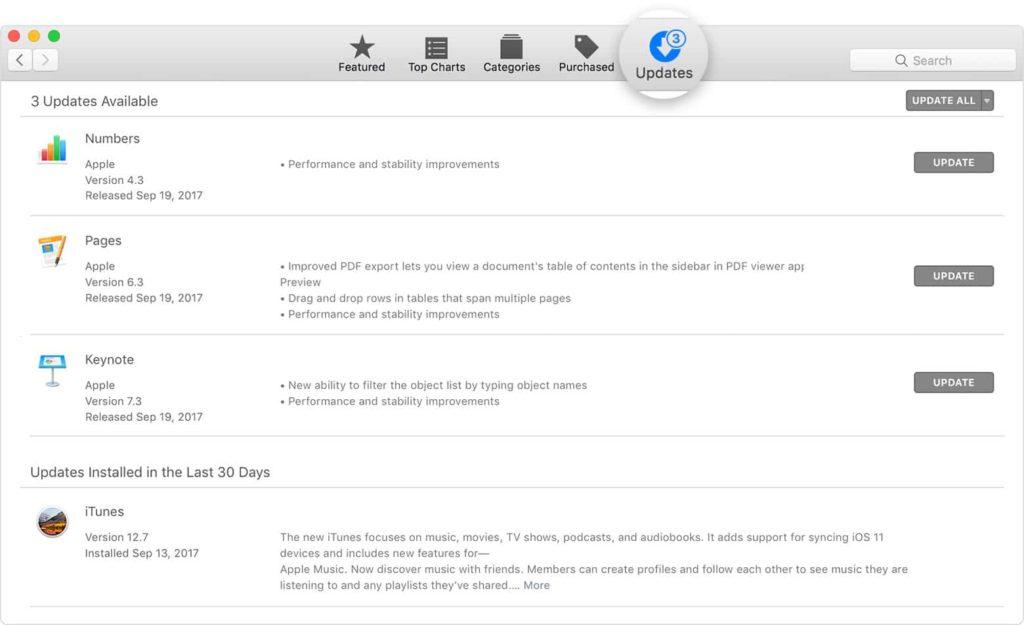 Update the system in mac