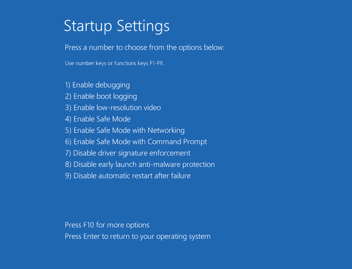 startup settings windows