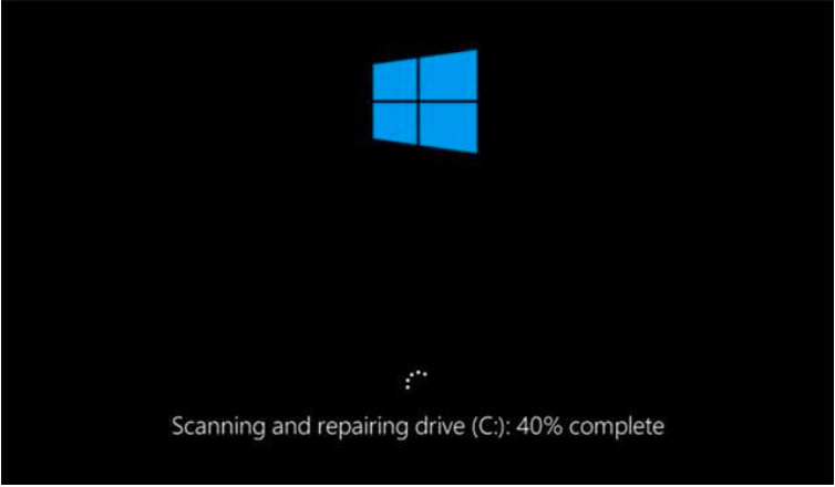 Remove Scanning and Repairing Drive Stuck Error