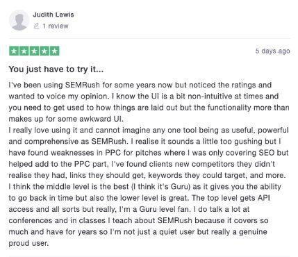 Semrush user reviews