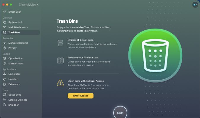 Trash Bins - Cleanmymac X features