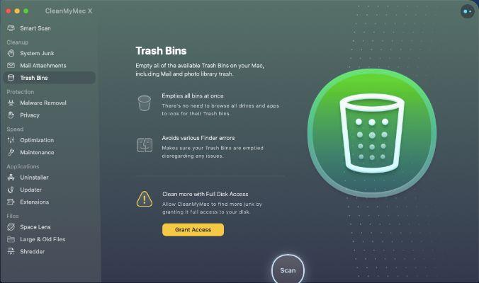 Trash Bins - Cleanmymac X features
