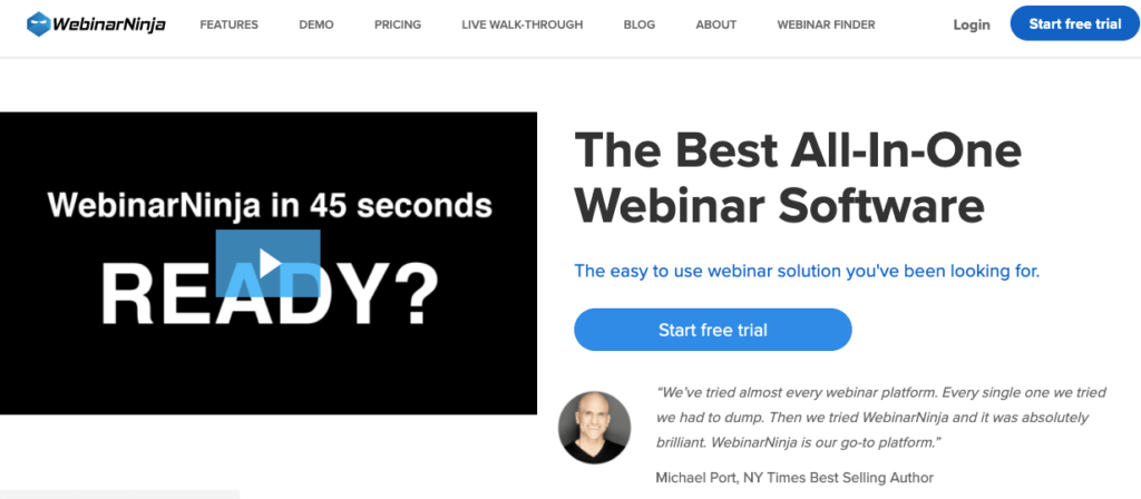 WebinarNinja - best webinar platforms