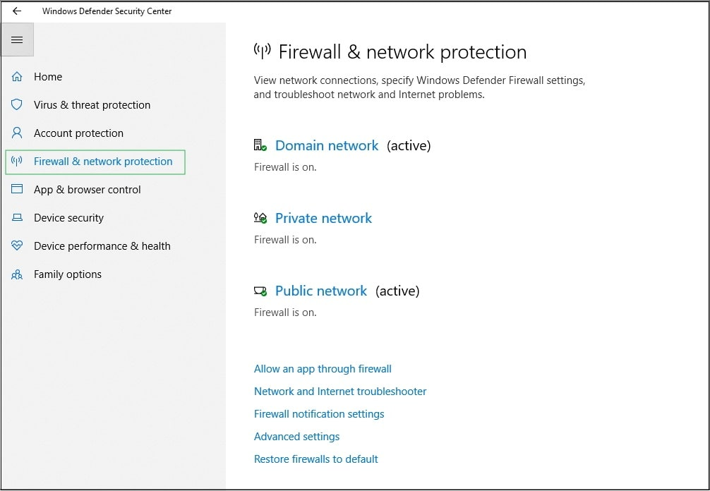 Firewall & Network Protection option.