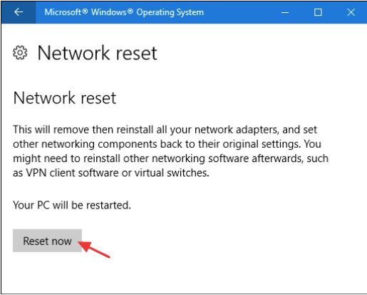 Use Network Reset