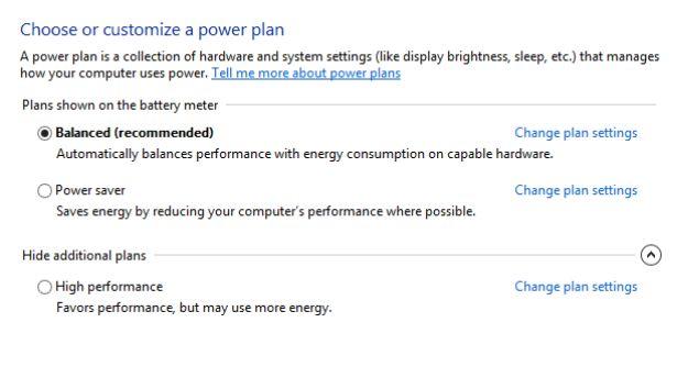 Change Power settings In Windows 10