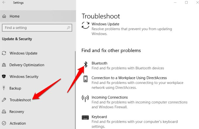 By using windows 10 troubleshooter