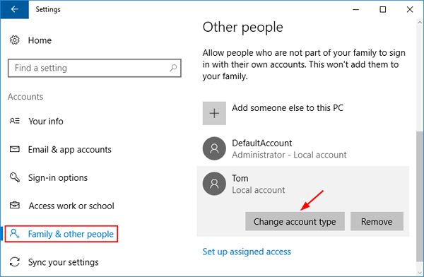 Click on Change account type
