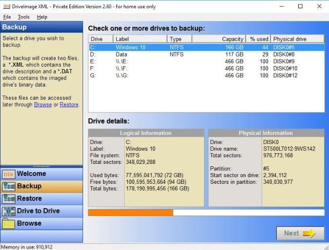Drive image XML