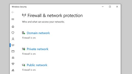 Turn on or off the Windows Defender Firewall by using Windows security