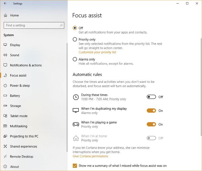 Focus Assist On Windows 10