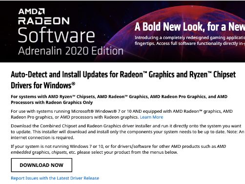 Update AMD Drivers by using the AMD Radeon Update Tool