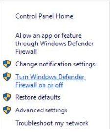 Turn off the Windows Defender Firewall on Windows 10