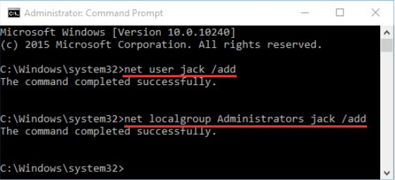 Create an administrator account by using the Command prompt
