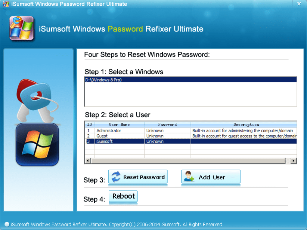 Unblock your Microsoft account on Windows 10 by using the iSumsoft tool