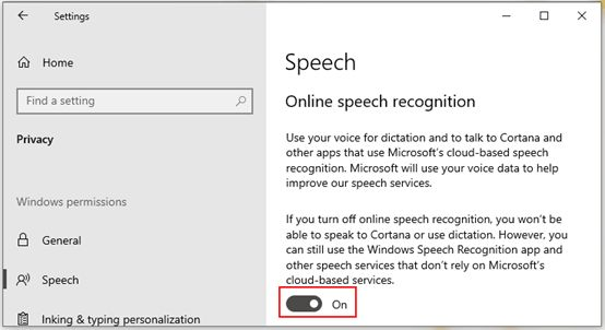 Turn on the Speech Recognition