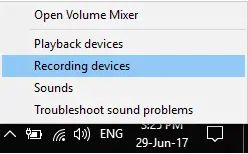 Select the recording device.