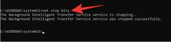 net stop bits