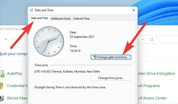 Date and Time tab