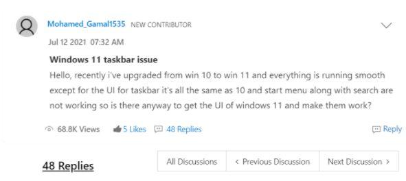 Windows 11 Taskbar Not Working